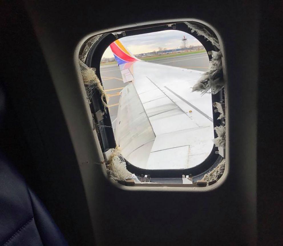 PHOTO: A blown out window taken from inside the Southwest Airlines plane that made an emergency landing at the Philadelphia airport, April 17, 2018.