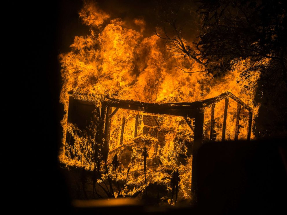 PHOTO: An outbuilding burns in Toro Canyon, Calif. on Dec. 11, 2017.