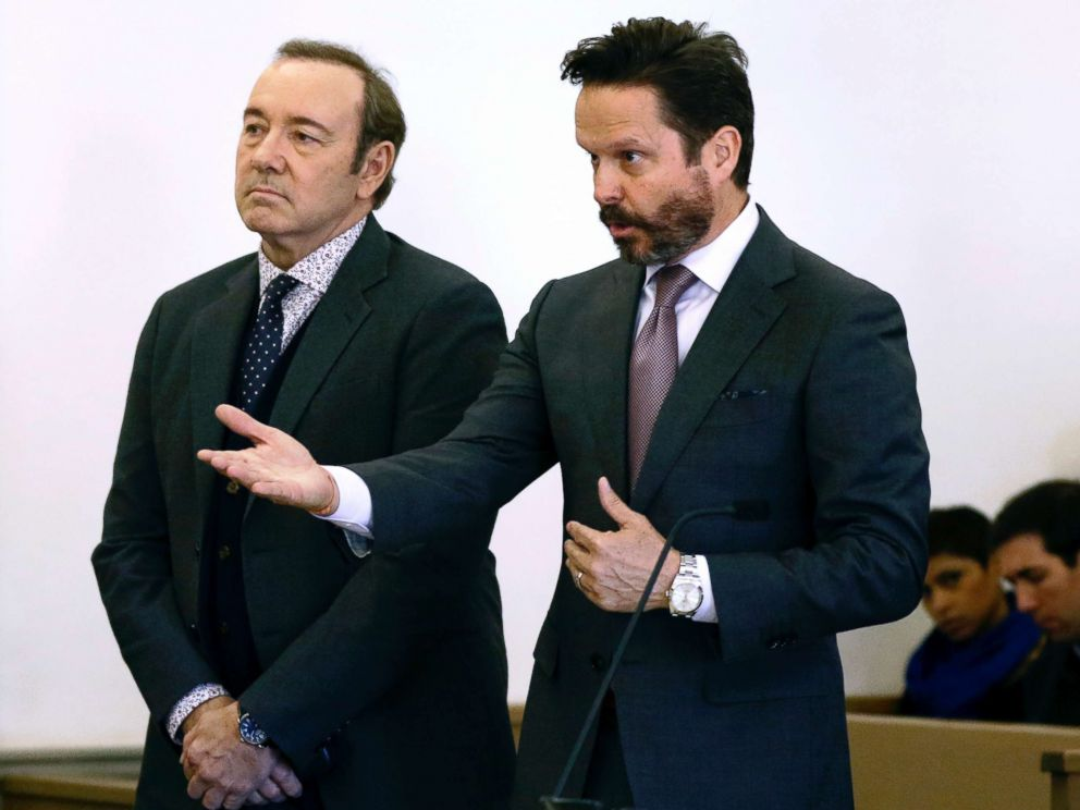 PHOTO: Kevin Spacey stands in district court as his attorney Alan Jackson, right, addresses the judge during an arraignment hearing, Jan. 7, 2019, in Nantucket, Mass.