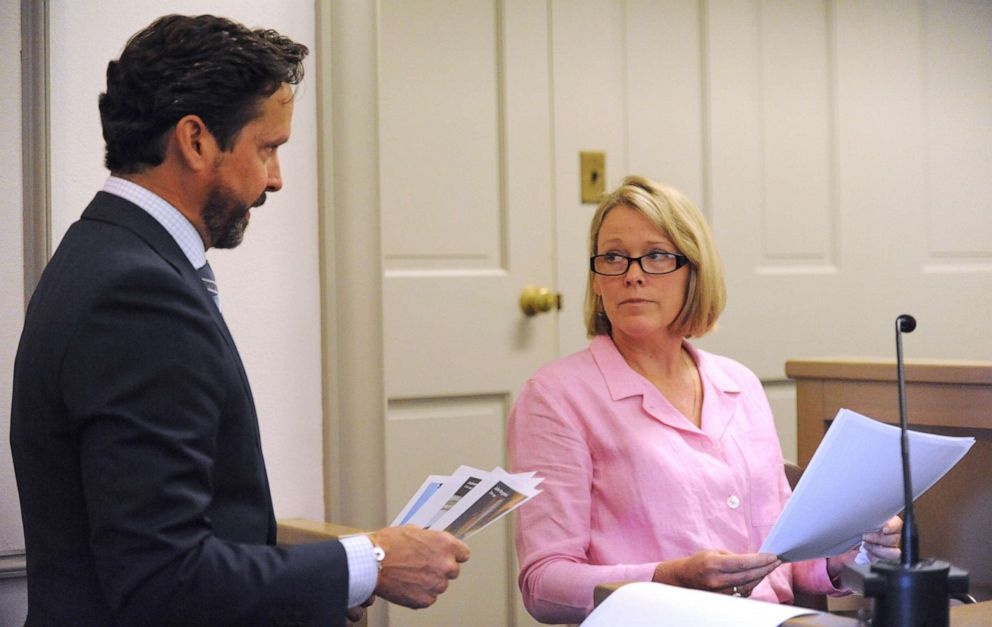 PHOTO: Kevin Spaceys attorney Alan Jackson, left, presents photos to witness Heather Unruh, the accusers mother, in Nantucket District Court, July 8, 2019.
