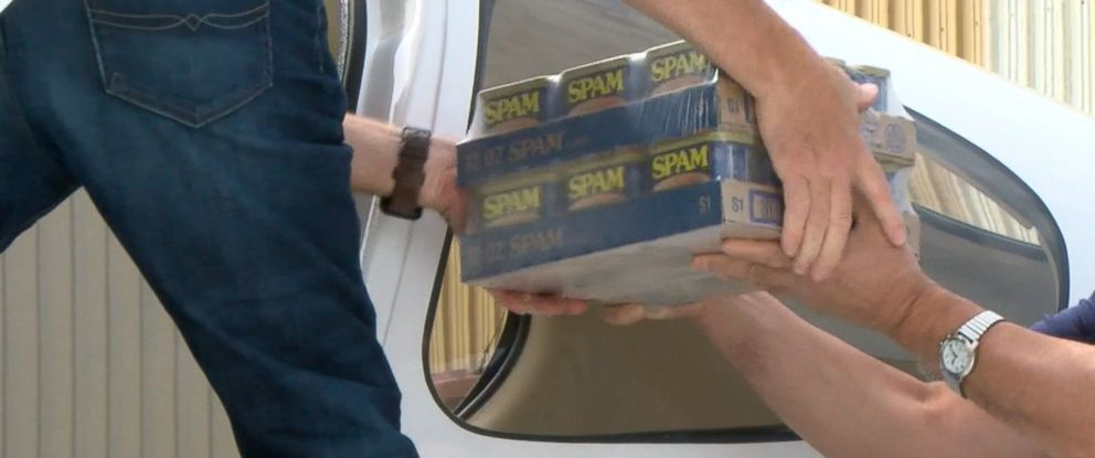 PHOTO: A donation from food company Hormel of 32 cases of Spam is getting flown from Minnesota to flood victims in Texas.