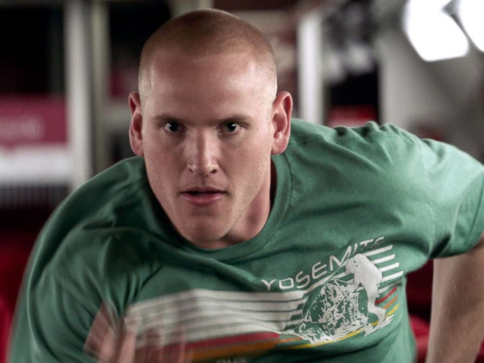PHOTO: Spencer Stone in a scene from The 15:17 To Paris.