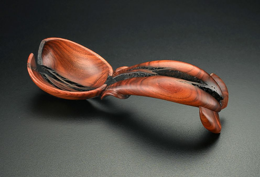 PHOTO: One of spoons hand-carved by artist Norm Sartorius, entitled, America 2008.
