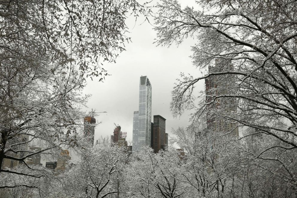 PHOTO: Snow covered branches frame a view of Manhattan from Central Park West in New York after an early spring storm on April 2, 2018.