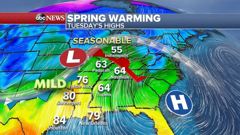 Spring warming will take place in the middle of the country on Tuesday and move east later in the week.