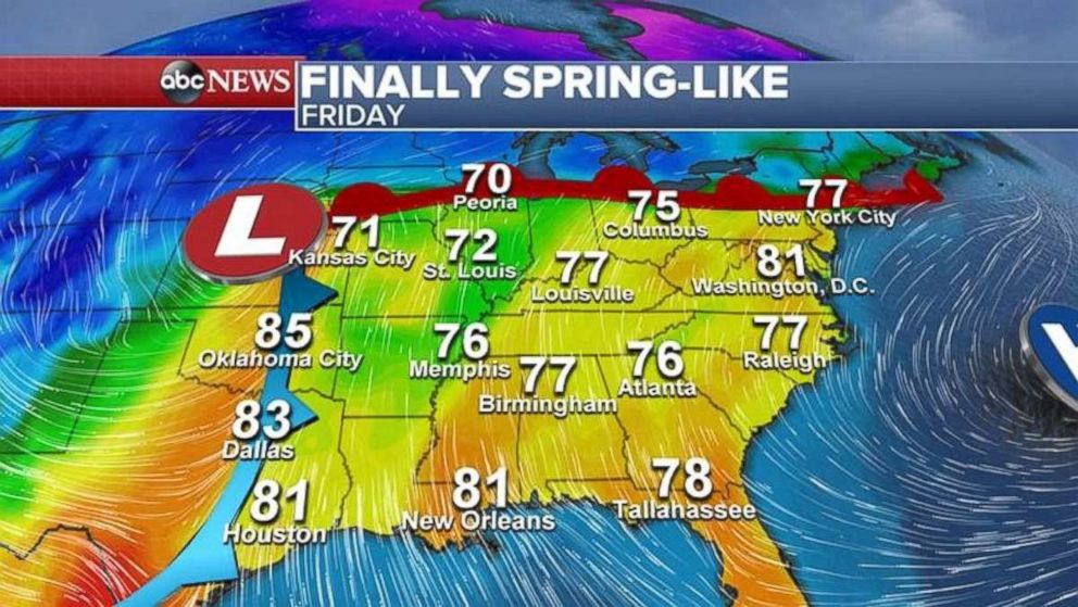 Temperatures will warm into the 70s and 80s this weekend for much of the South and Northeast.