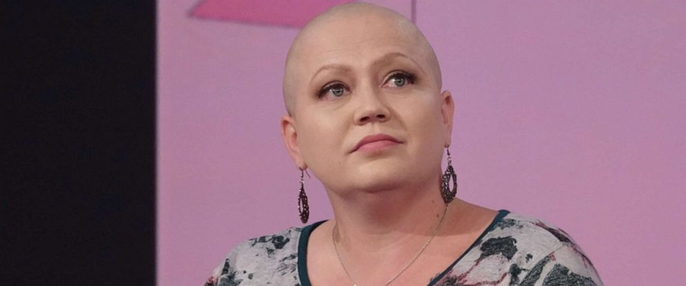 """PHOTO: Breast cancer patient Sarah Weimer opens up about her breast cancer journey on """"The View"""" on Oct. 17, 2019, for Breast Cancer Awareness Month."""