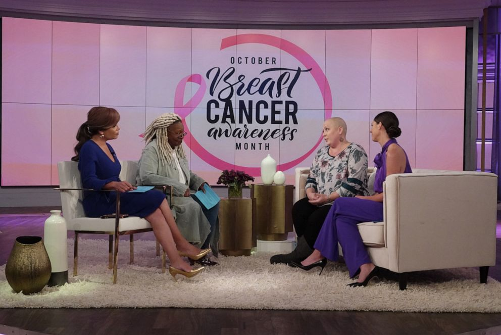 PHOTO: Breast cancer patient Sarah Weimer opens up about her breast cancer journey on The View on Oct. 17, 2019, for Breast Cancer Awareness Month.