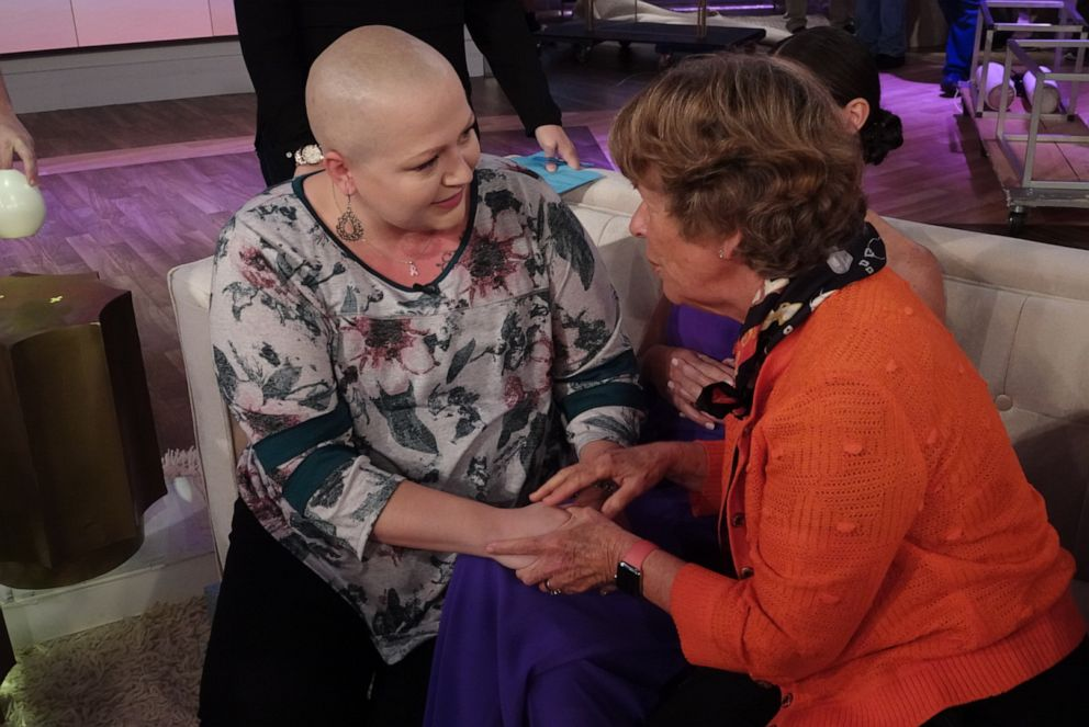 PHOTO: Breast cancer patient Sarah Weimer sits with Abby Huntsmans grandmother behind the scenes on The View on Oct. 17, 2019.
