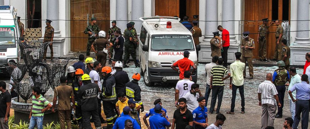 PHOTO:Sri Lankan security forces secure the area around St. Anthonys Shrine after an explosion, April 21, 2019, in Colombo, Sri Lanka.
