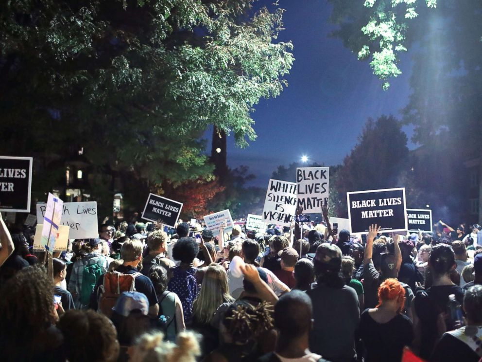 PHOTO: Demonstrators protesting the acquittal of former St. Louis police officer Jason Stockley march on Sept. 16, 2017, in St. Louis.