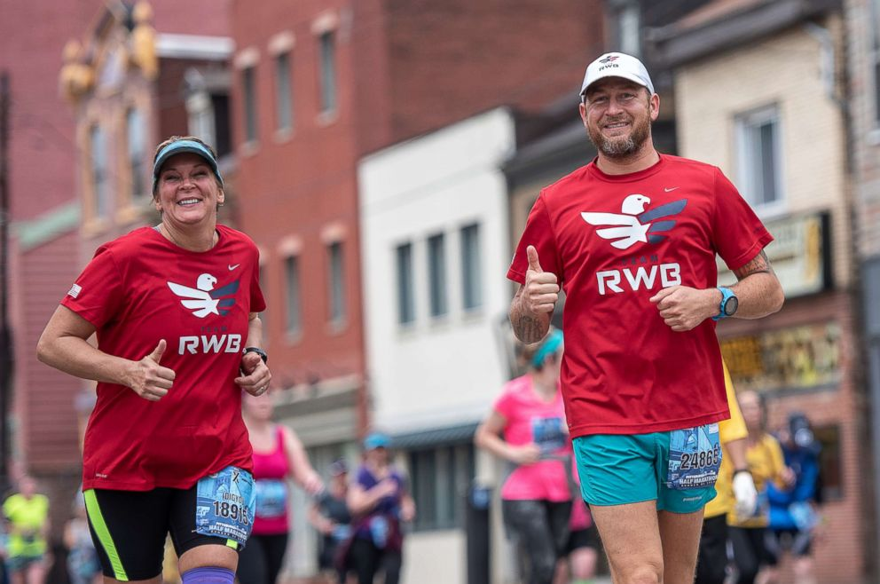 PHOTO: Stacey and Stephen run the Pittsburgh Half Marathon together after he surprises her and sees his biological mom for the first time.