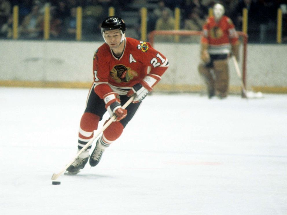PHOTO: Stan Mikita of the Chicago Blackhawks skates on the ice during an NHL game against the New York Rangers on December 16, 1973, at Madison Square Garden in New York.