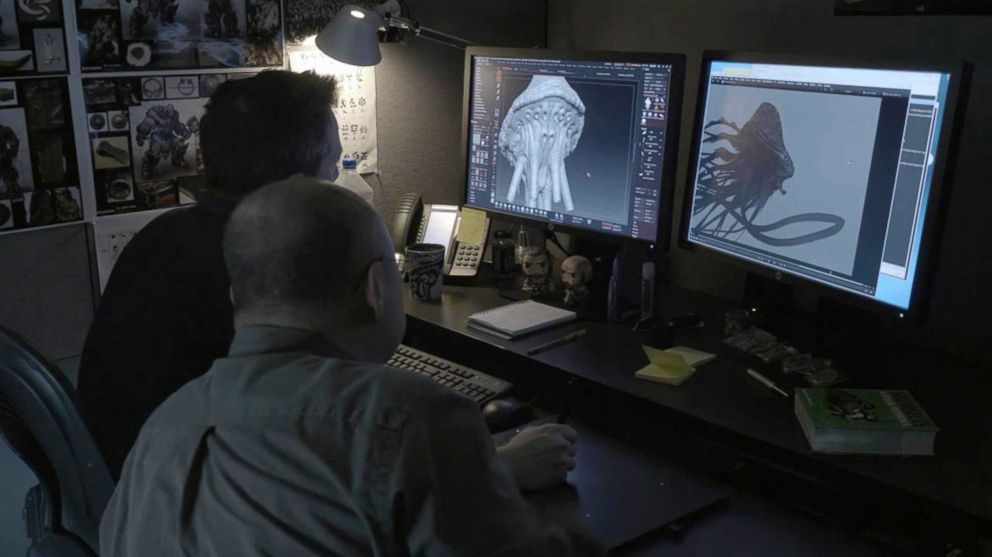 PHOTO: An image released by Lucasfilm shows the making of a monster in Solo: A Star Wars Story.