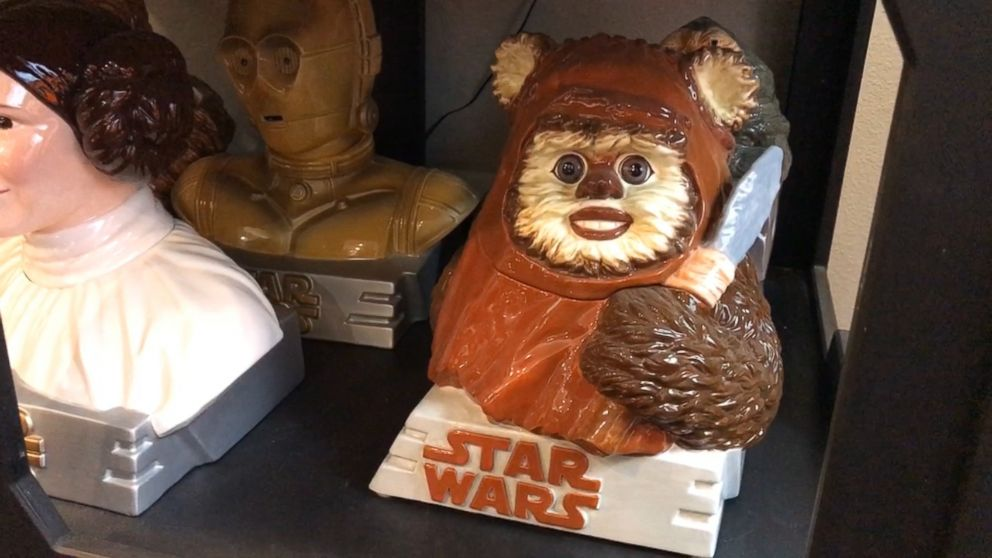 PHOTO: An Ewok cookie jar is one of many found on the shelves at Rancho Obi Wan in Petaluma, Calif.