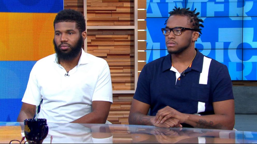 """Rashon Nelson and Donte Robinson appear on """"Good Morning America,"""" April 19, 2018, to discuss their arrest at a Philadelphia Starbucks."""