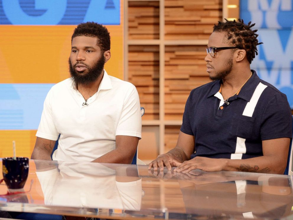 PHOTO: Rashon Nelson and Donte Robinson appear on Good Morning America, April 19, 2018, to discuss their arrest at a Philadelphia Starbucks. Starbucks closing 8,000 stores today to give employees classes in rooting out racial bias Starbucks closing 8,000 stores today to give employees classes in rooting out racial bias starbucks interview2a abc ml 180419 hpMain 4x3 992