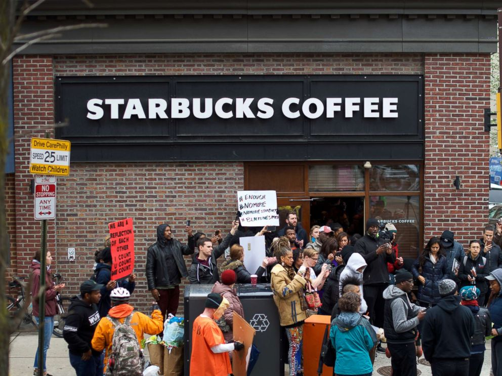 PHOTO: Protesters demonstrate outside a Center City Starbucks, April 15, 2018 in Philadelphia. Starbucks closing 8,000 stores today to give employees classes in rooting out racial bias Starbucks closing 8,000 stores today to give employees classes in rooting out racial bias starbucks protest 1 gty jt 180415 hpMain 3 4x3 992