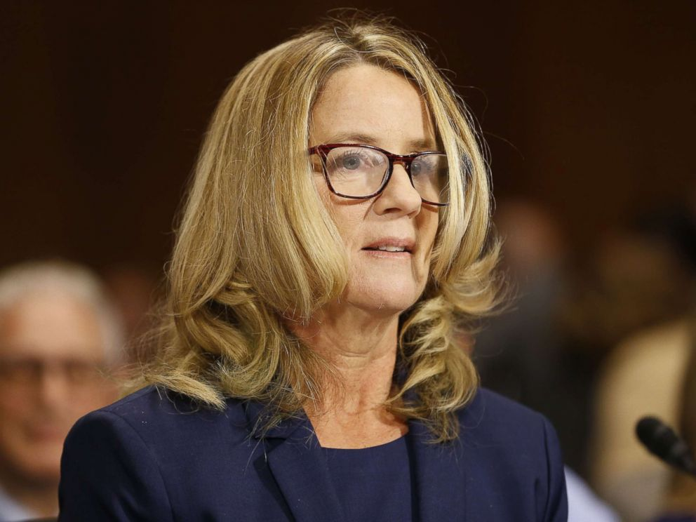 PHOTO: Christine Ford testifies before the Senate Judiciary Committee on Sept. 28, 2018.