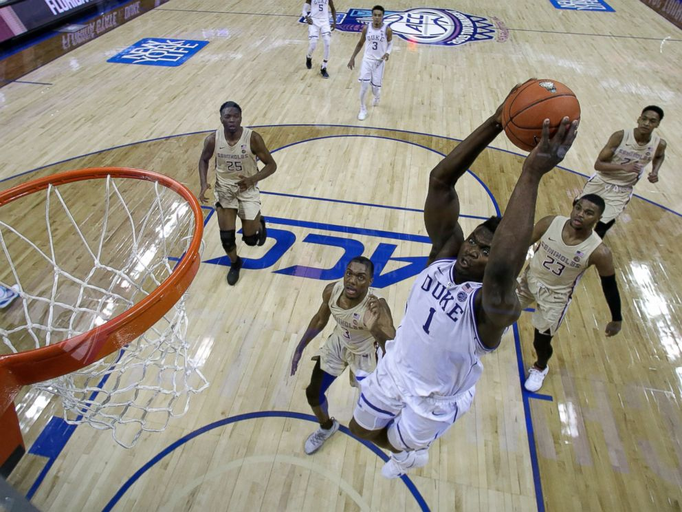 PHOTO: Dukes Zion Williamson goes up to dunk against Florida State during the first half of the NCAA college basketball championship game of the Atlantic Coast Conference tournament in Charlotte, N.C., Saturday, March 16, 2019.