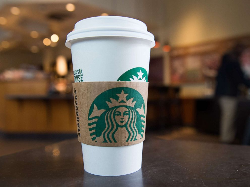 PHOTO: A Starbucks coffee cup is seen inside a Starbucks Coffee shop in Washington, DC.