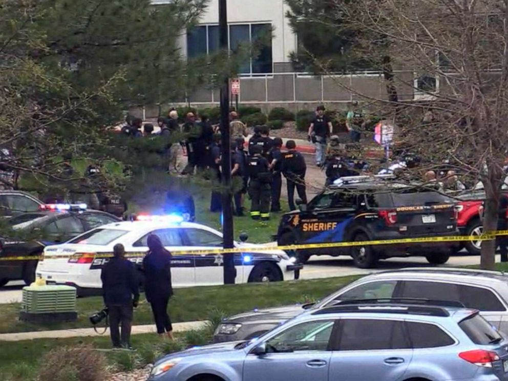 PHOTO: First responders gather after a shooting at a STEM School Highlands Ranch in Highlands Ranch, Colo., May 7, 2019.