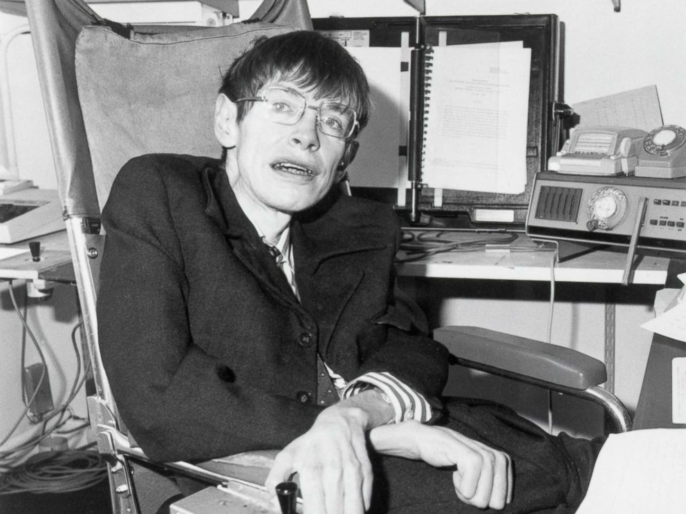 Stephen Hawking in his office circa 1982