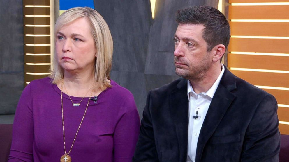 PHOTO: Stephen and Rae Ann Gruver, the parents of 18-year-old Louisiana State University freshman Max Gruver, who died following an alleged hazing incident, speak out in an interview with ABC News Michael Strahan.