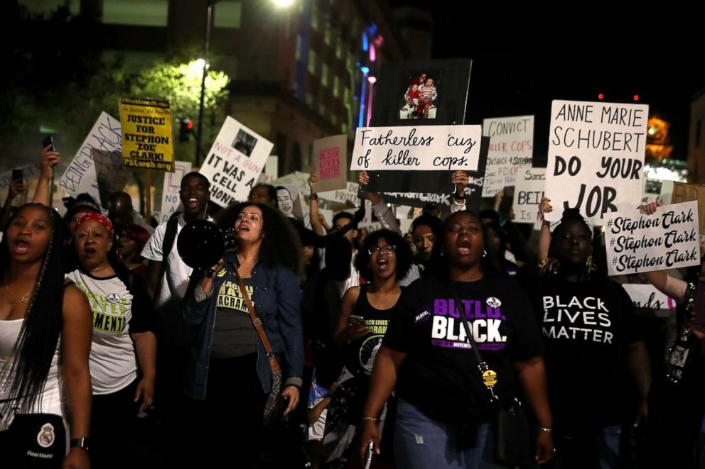 PHOTO: Black Lives Matter protesters march through the streets of Sacramento during a demonstration, March 30, 2018 in Sacramento, Calif., demanding justice for Stephon Clark, who was shot and killed by Sacramento police on March 18.