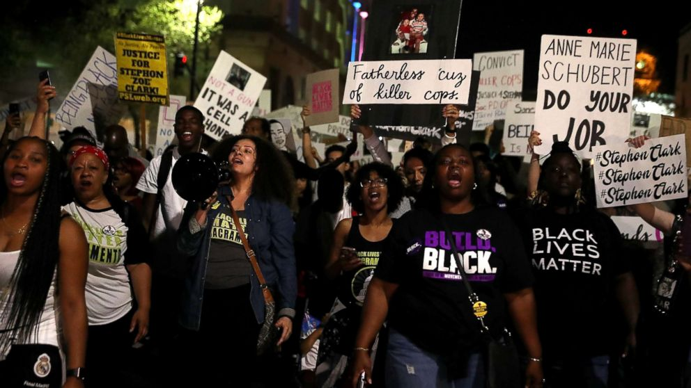 Black Lives Matter protesters march through the streets of Sacramento during a demonstration, March 30, 2018 in Sacramento, Calif., demanding justice for Stephon Clark, who was shot and killed by Sacramento police on March 18.