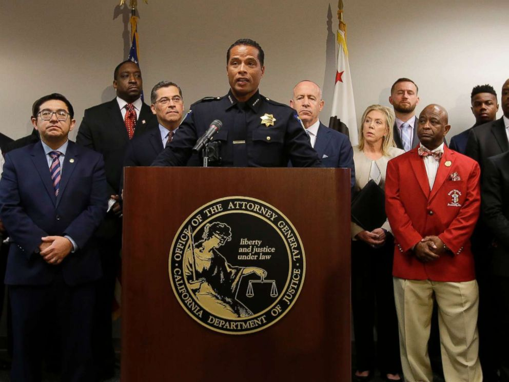 PHOTO: Sacramento Police Chief Daniel Hahn, flanked by civic and community leaders announces that he has asked Attorney Generals office to be part of an independent investigation of the death of Stephon Clark in Sacramento, Calif., March 27, 2018.