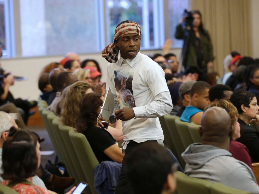 PHOTO: Stevante Clark, the brother of Stephon Clark, who was shot and killed by Sacramento police, leaves a meeting of the Sacramento City Council, Tuesday, April 10, 2018, in Sacramento, Calif.