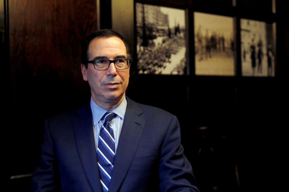 PHOTO: Treasury Secretary Steven Mnuchin speaks during his interview with Reuters in Jerusalem, Oct. 21, 2018.