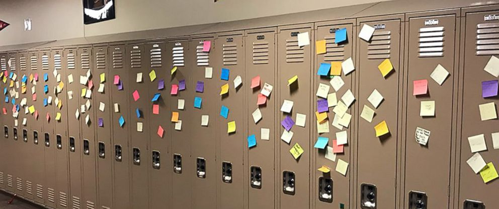 PHOTO: Faculty and students at Arbor Preparatory High School in Michigan filled the halls of their campus with post-it notes that had words of love and encouragement.