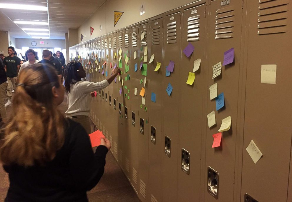PHOTO: Students and faculty at Arbor Preparatory High School in Michigan filled the halls of their campus with post-it notes that had words of love and encouragement.