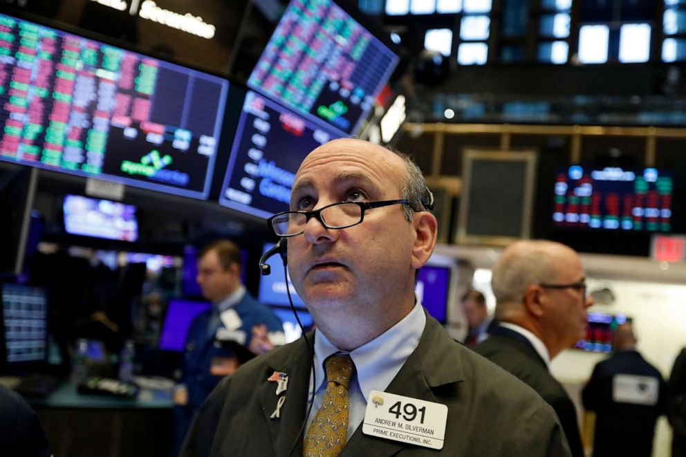 PHOTO: In this Aug. 13, 2019, file photo trader Andrew Silverman works on the floor of the New York Stock Exchange.