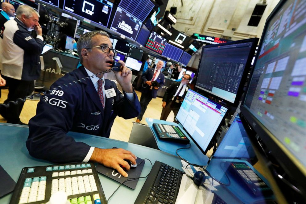 PHOTO: Specialist Anthony Rinaldi works on the floor of the New York Stock Exchange, Aug. 5, 2019.