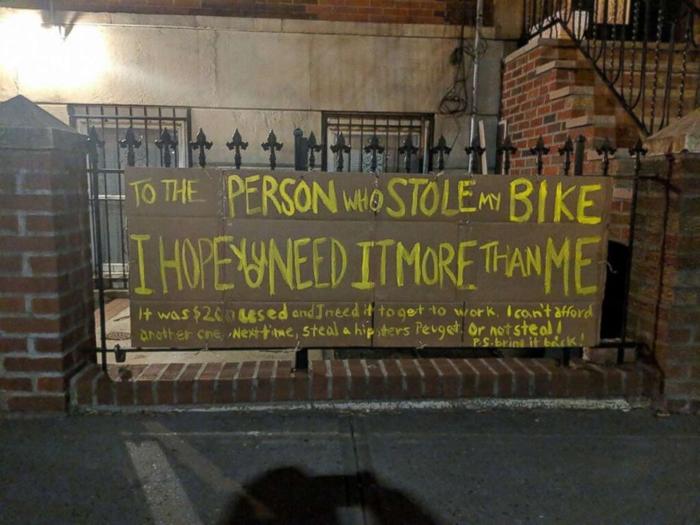 PHOTO: Amanda Needham posted a sign outside her Brooklyn home when her bicycle was stolen.