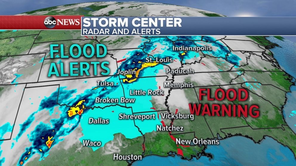 Flooding is possible across the central and southern U.S. due to heavy rain on Tuesday and Wednesday.