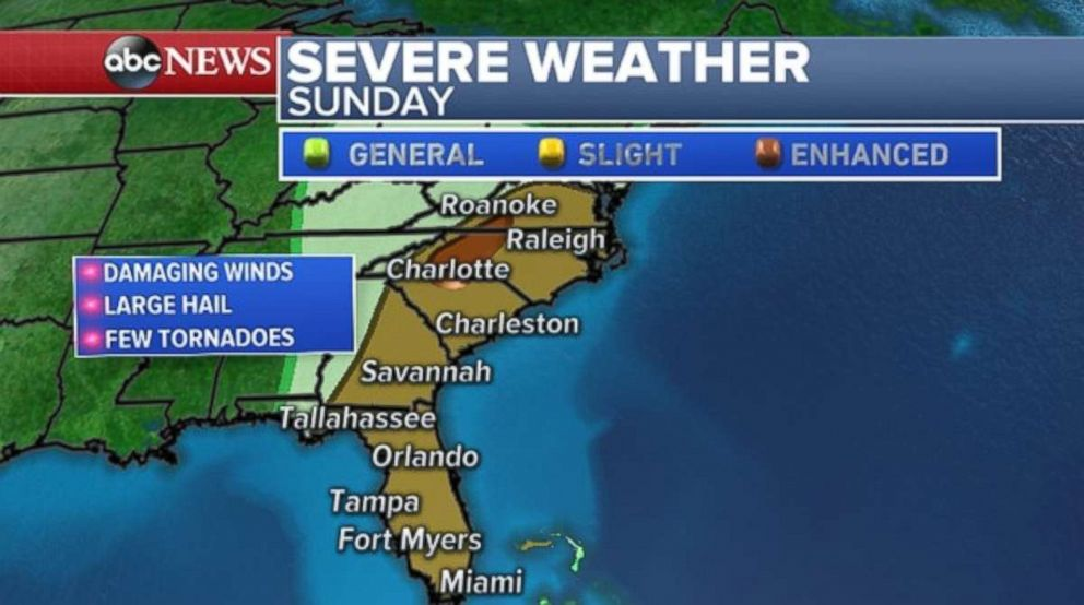 Damaging winds, hail and tornadoes are possible along the Southeast coast on Sunday.
