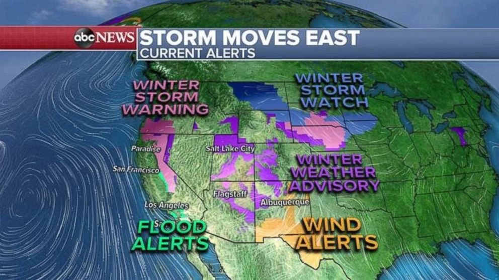 PHOTO: Flood alerts are in place in Central and Southern California, while winter weather advisories dot the Rockies.