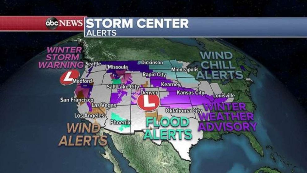 PHOTO: Alerts are in place across much of the country for a series of storms Friday.