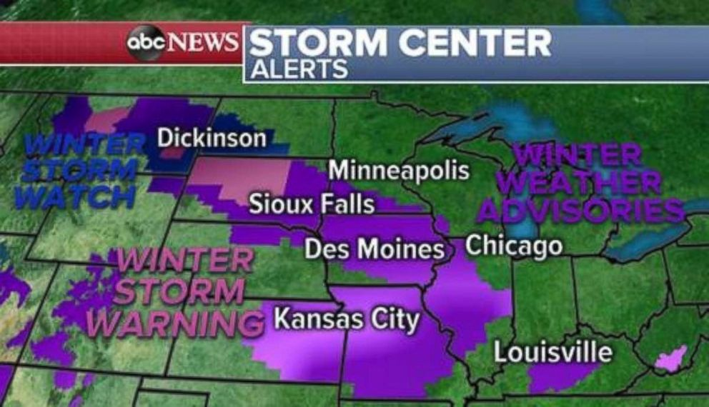 Winter storm warnings are in place through much of the Plains on Saturday.