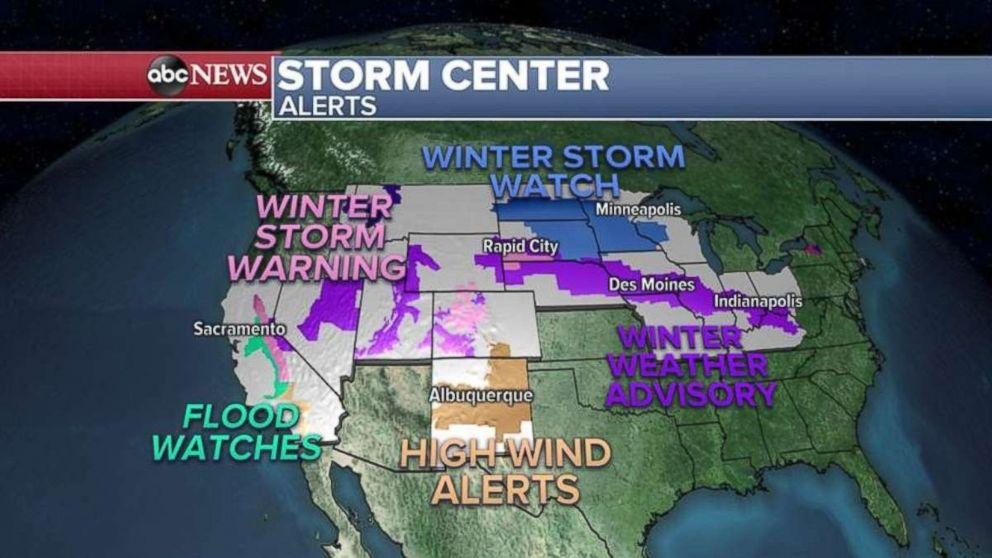 PHOTO: Winter storm warnings and watches are in place across the northern U.S. on Thursday.
