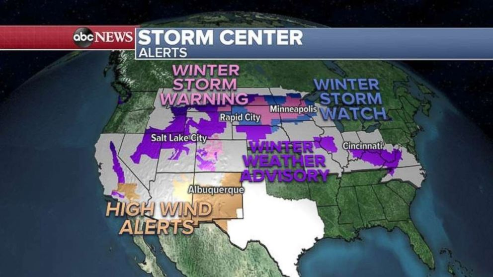 PHOTO: Snow and wind alerts are in place across the country on Friday.