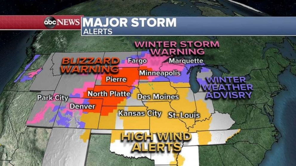 PHOTO: Storm alerts are in place across most of the central U.S. for snow and wind.