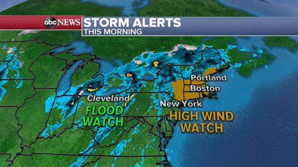 PHOTO: Flood and high wind watches are in effect on Friday for parts of the Northeast.