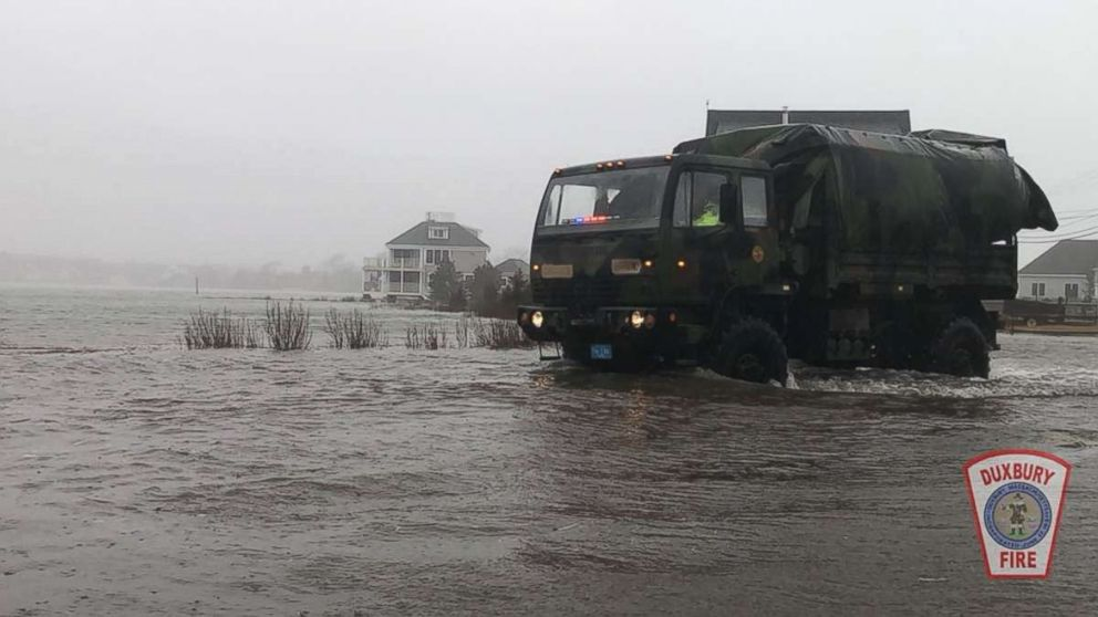 The Duxbury Fire Department posted this photo to their Twitter account of flooding on Highway 9, March 2, 2018, in Duxbury, Mass.
