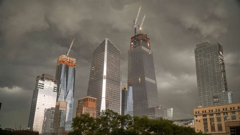 The Hudson Yards development on the west side of Manhattan in New York is seen as a fast moving storm passes through the city, May 15, 2018.