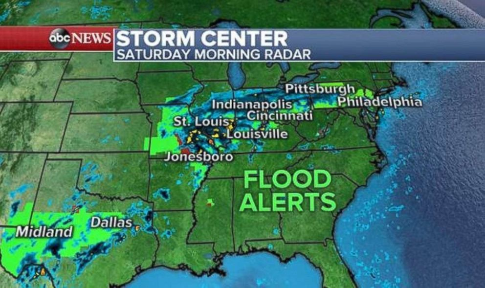 Flood alerts are in place across much of the Midwest due to the remnants of Tropical Storm Gordon.